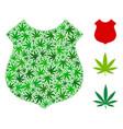 police shield mosaic of hemp leaves vector image