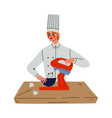 professional female chef cooking with mixer vector image vector image