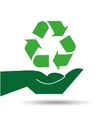 recycle symbol hands holding design icon vector image vector image