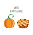 set of thanksgiving pie and pumpkin vector image vector image