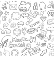 Social Seamless Doodle vector image vector image