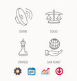 strategy sound and scales of justice icons vector image vector image