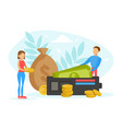 tiny people with purse and money bag investments vector image