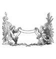 vintage drawing two angels holding decorative vector image vector image