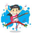 young boy long hair playing electric rock guitar vector image