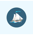 Icon with colored sailing vessel vector image