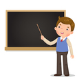 Male teacher standing in front of blackboard with vector image