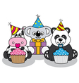 Animals having a party vector image