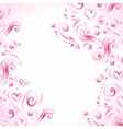 Abstract floral background with hearts in pink vector image vector image