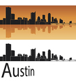 Austin skyline in orange background vector image vector image
