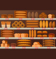 bakery stall or showcase with loaf of bread vector image vector image