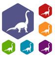 brachiosaurus dinosaur icons set hexagon vector image vector image