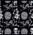 broken robot funny dog alien seamless pattern vector image