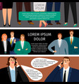 business man and woman speak set of banners vector image