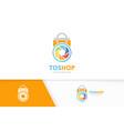 camera shutter and shop logo combination vector image vector image