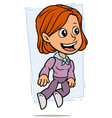 cartoon jumping redhead girl character vector image vector image