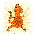 cartoon red cat doing warrior position yoga vector image vector image