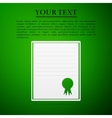 Certificate template flat icon on green background