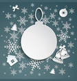 christmas background with snowflakes and bells vector image