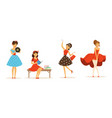 collection young women dressed vintage stylish vector image vector image