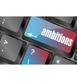 computer keyboard with ambition button - business vector image vector image