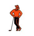 cowboy golfer leaning golf club mascot vector image vector image