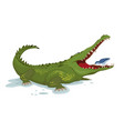 crocodile and a bird cartoon character vector image vector image