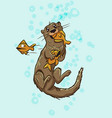cute funny otter underwater eating fish vector image vector image