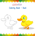 Duck coloring book educational game vector image vector image
