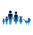 family silhouette and baby cart isolated icon vector image vector image