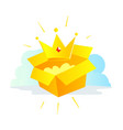 gold crown icon by mail in the package the vector image