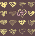 hand drawn hearts symbols and lettering vector image vector image