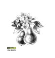 hand drawn pear branch with flowers and fruits vector image vector image