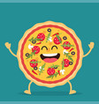 happy pizza cartoon character vector image