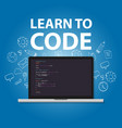 learn to code programming language study practice vector image vector image