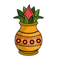 lotus flower on vase jar vector image vector image
