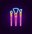 makeup brushes neon sign vector image vector image