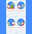 merry christmas set and text vector image vector image