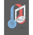 Musical note and headphones vector image