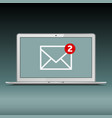 new email on laptop screen vector image vector image