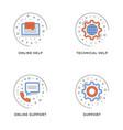 online help technical help online support set of vector image vector image