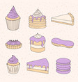 pastry collection of cakes pies tarts muffins vector image