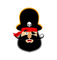 pirate happy emoji head filibuster merry emotion vector image vector image