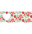 red heart shape with floral pattern background vector image vector image