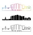 rio de janeiro v2 skyline linear style vector image vector image