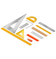 ruler icon set isometric style vector image vector image