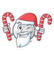 santa with candy golf ball mascot cartoon vector image vector image