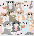 seamless pattern cute cartoon baotter with vector image