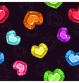 Seamless pattern with colorful crystal hearts vector image vector image