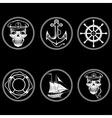 set of vintage labels with boat captain skull vector image